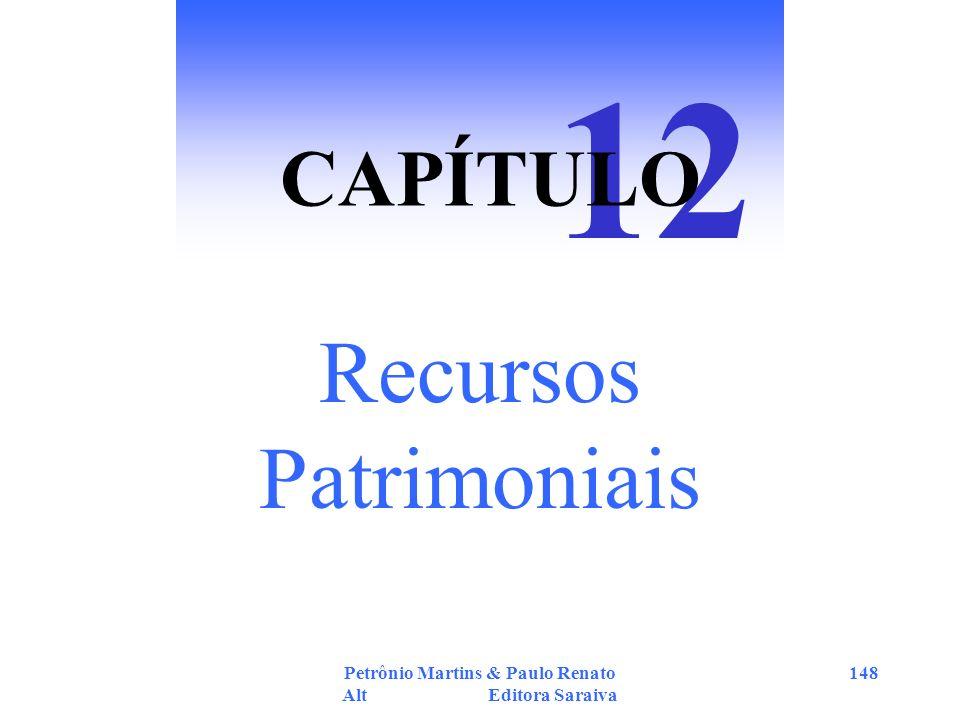 Petrônio Martins & Paulo Renato Alt Editora Saraiva 148 Recursos Patrimoniais 12 CAPÍTULO