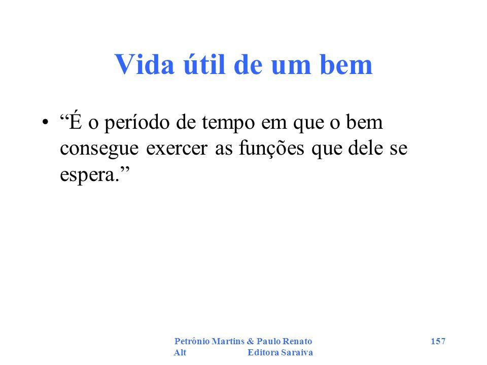 Petrônio Martins & Paulo Renato Alt Editora Saraiva 157 Vida útil de um bem É o período de tempo em que o bem consegue exercer as funções que dele se