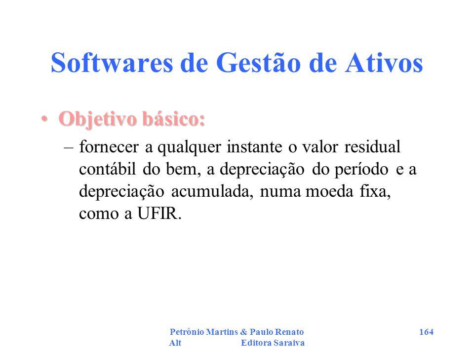 Petrônio Martins & Paulo Renato Alt Editora Saraiva 164 Softwares de Gestão de Ativos Objetivo básico:Objetivo básico: –fornecer a qualquer instante o
