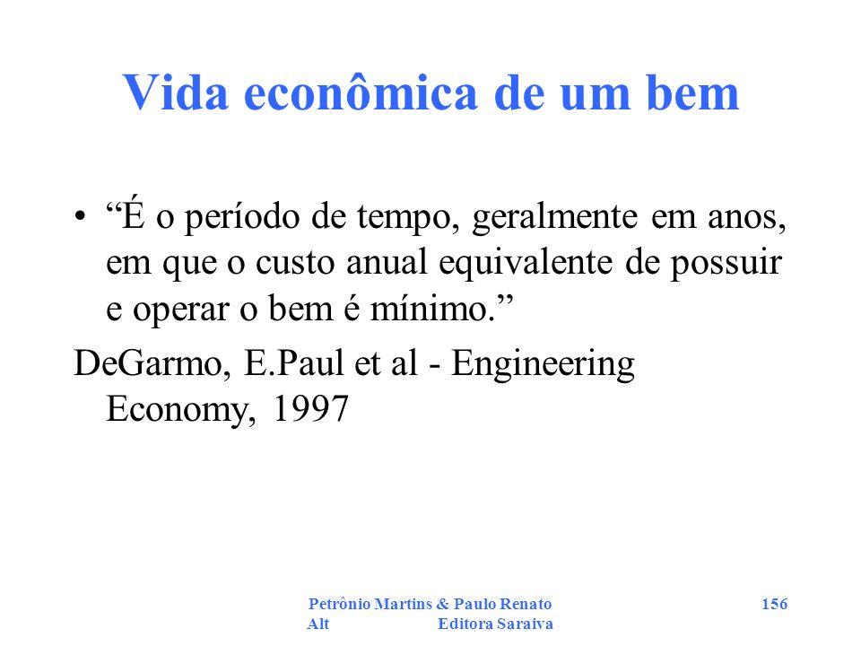 Petrônio Martins & Paulo Renato Alt Editora Saraiva 156 Vida econômica de um bem É o período de tempo, geralmente em anos, em que o custo anual equiva