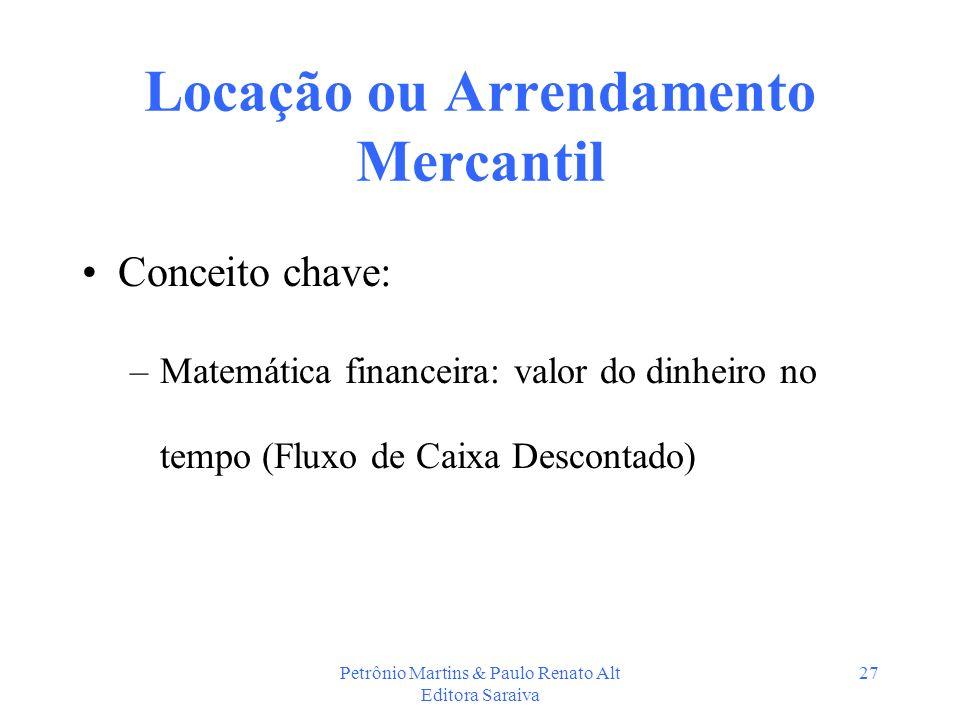 Petrônio Martins & Paulo Renato Alt Editora Saraiva 27 Locação ou Arrendamento Mercantil Conceito chave: –Matemática financeira: valor do dinheiro no