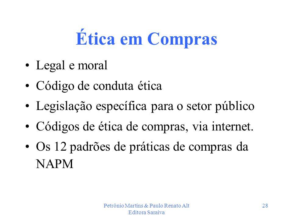 Petrônio Martins & Paulo Renato Alt Editora Saraiva 28 Ética em Compras Legal e moral Código de conduta ética Legislação específica para o setor públi