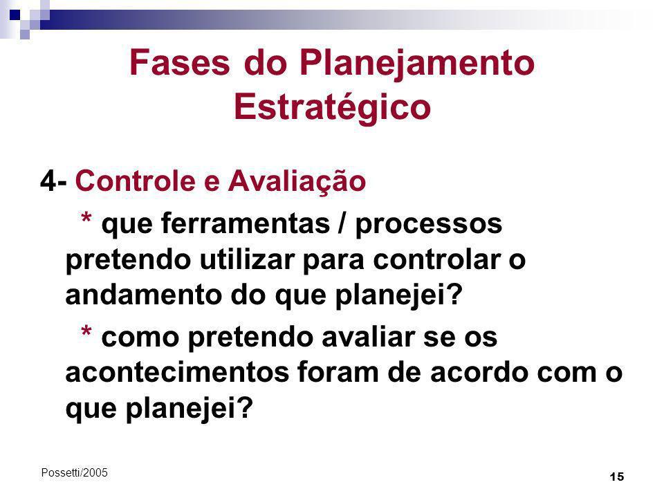 15 Possetti/2005 Fases do Planejamento Estratégico 4- Controle e Avaliação * que ferramentas / processos pretendo utilizar para controlar o andamento