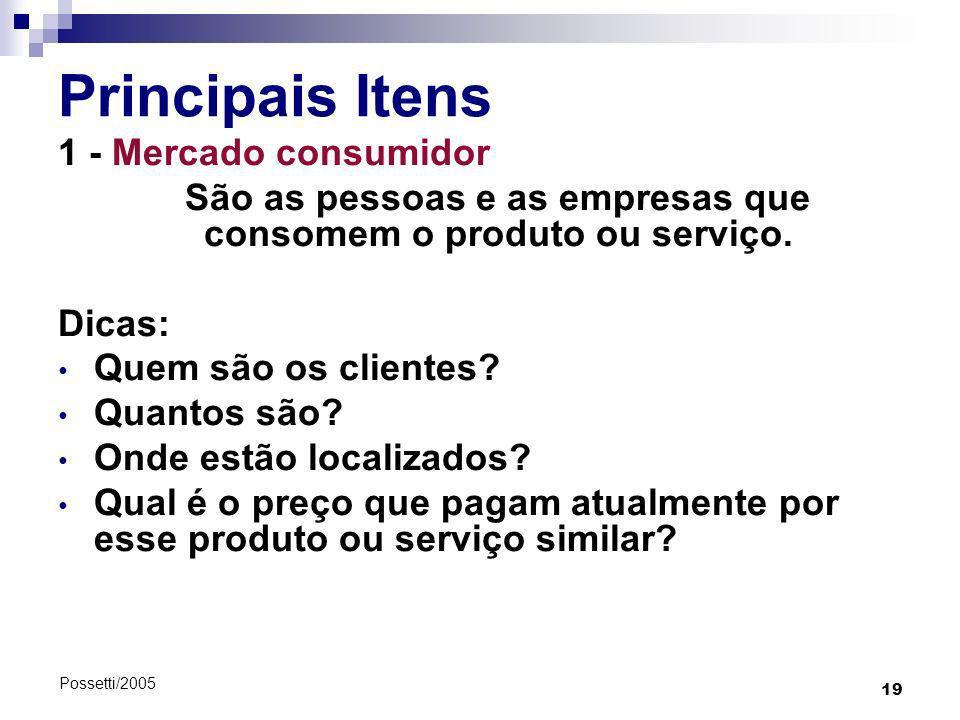 19 Possetti/2005 Principais Itens 1 - Mercado consumidor São as pessoas e as empresas que consomem o produto ou serviço. Dicas: Quem são os clientes?