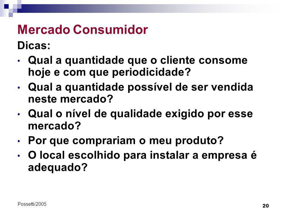 20 Possetti/2005 Mercado Consumidor Dicas: Qual a quantidade que o cliente consome hoje e com que periodicidade? Qual a quantidade possível de ser ven