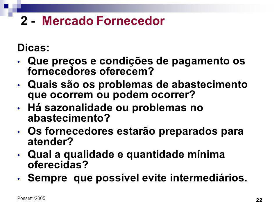 22 Possetti/2005 2 - Mercado Fornecedor Dicas: Que preços e condições de pagamento os fornecedores oferecem? Quais são os problemas de abastecimento q