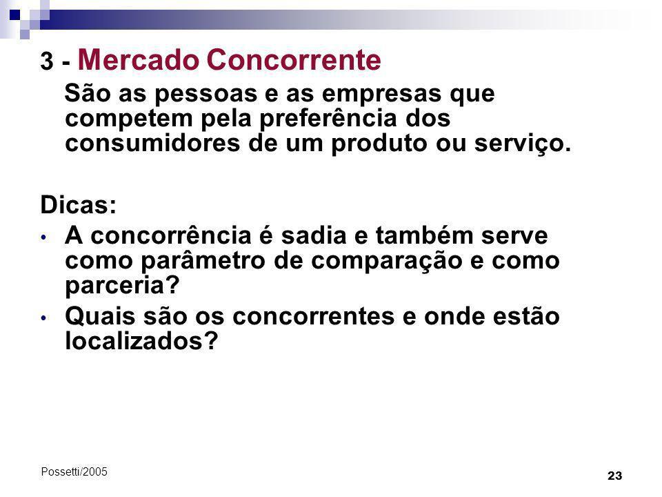 23 Possetti/2005 3 - Mercado Concorrente São as pessoas e as empresas que competem pela preferência dos consumidores de um produto ou serviço. Dicas: