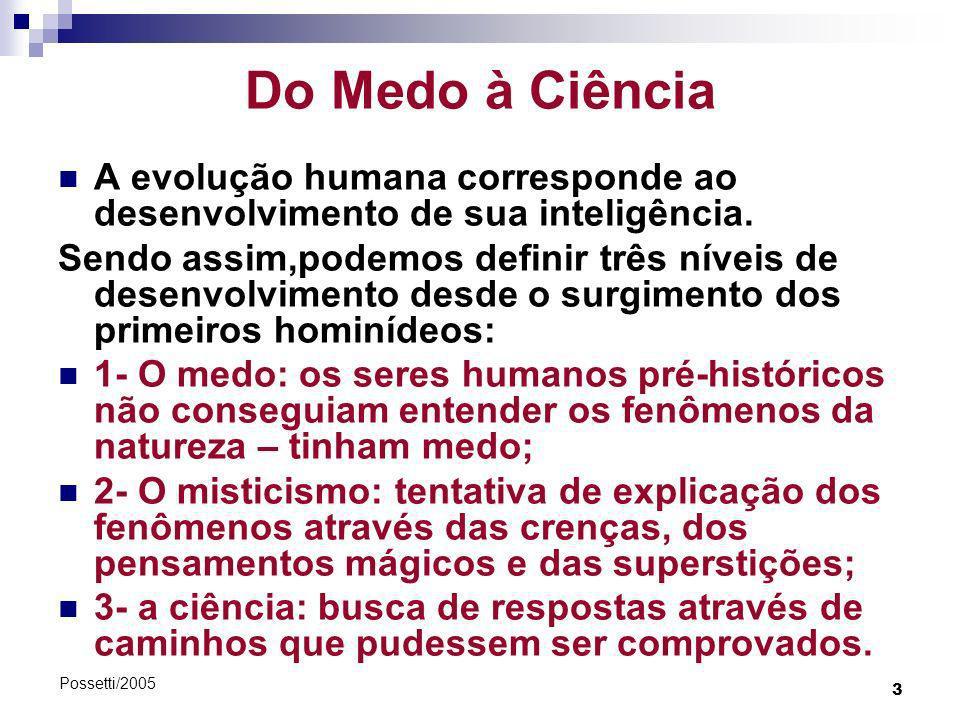 3 Possetti/2005 Do Medo à Ciência A evolução humana corresponde ao desenvolvimento de sua inteligência. Sendo assim,podemos definir três níveis de des