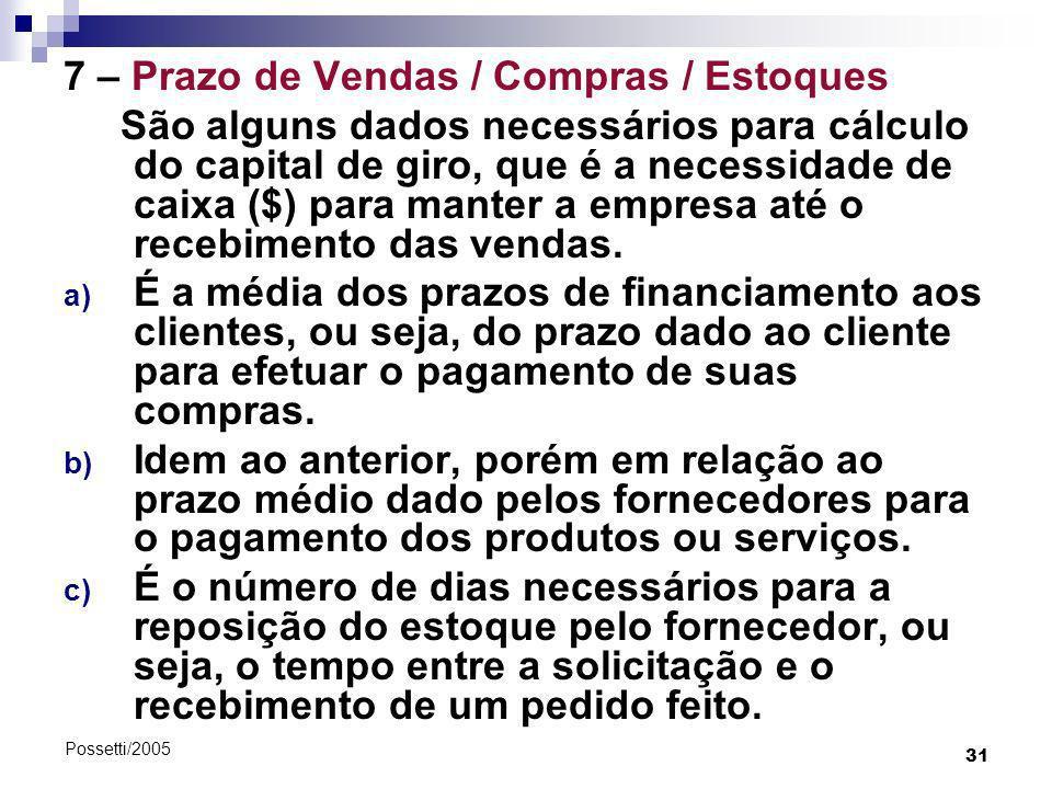 31 Possetti/2005 7 – Prazo de Vendas / Compras / Estoques São alguns dados necessários para cálculo do capital de giro, que é a necessidade de caixa (