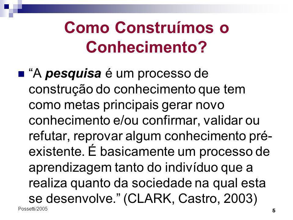 5 Possetti/2005 Como Construímos o Conhecimento? A pesquisa é um processo de construção do conhecimento que tem como metas principais gerar novo conhe