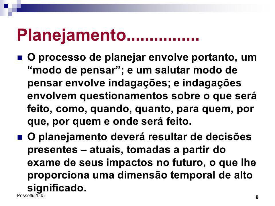 8 Possetti/2005 Planejamento................ O processo de planejar envolve portanto, um modo de pensar; e um salutar modo de pensar envolve indagaçõe