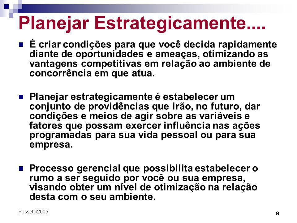 9 Possetti/2005 Planejar Estrategicamente.... É criar condições para que você decida rapidamente diante de oportunidades e ameaças, otimizando as vant