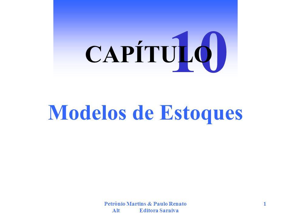 Petrônio Martins & Paulo Renato Alt Editora Saraiva 12 Modelo de Reposição Periódica ou Intervalo Padrão Intervalos de tempo fixos = IP Q = Emax - S (vide texto p.193) Emax = ES + Q IP = 1 / N IP = Q / D