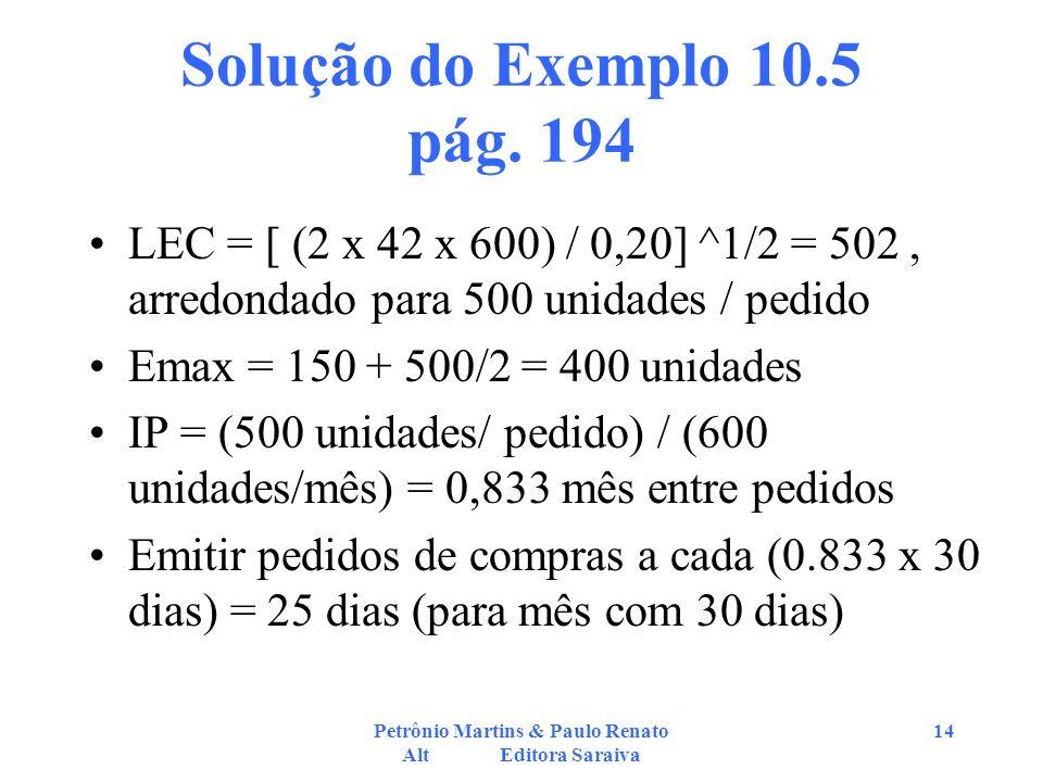 Petrônio Martins & Paulo Renato Alt Editora Saraiva 14 Solução do Exemplo 10.5 pág. 194 LEC = [ (2 x 42 x 600) / 0,20] ^1/2 = 502, arredondado para 50