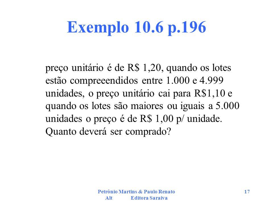 Petrônio Martins & Paulo Renato Alt Editora Saraiva 17 Exemplo 10.6 p.196 preço unitário é de R$ 1,20, quando os lotes estão compreeendidos entre 1.00