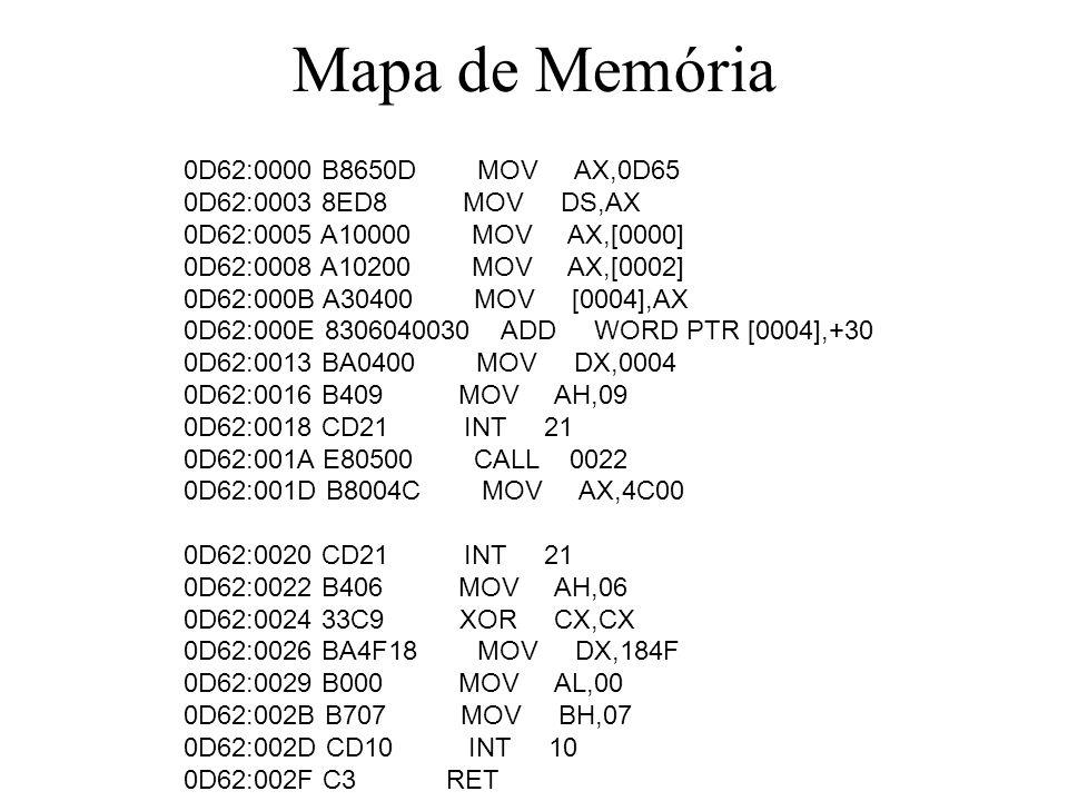 Mapa de Memória 0D62:0000 B8650D MOV AX,0D65 0D62:0003 8ED8 MOV DS,AX 0D62:0005 A10000 MOV AX,[0000] 0D62:0008 A10200 MOV AX,[0002] 0D62:000B A30400 M