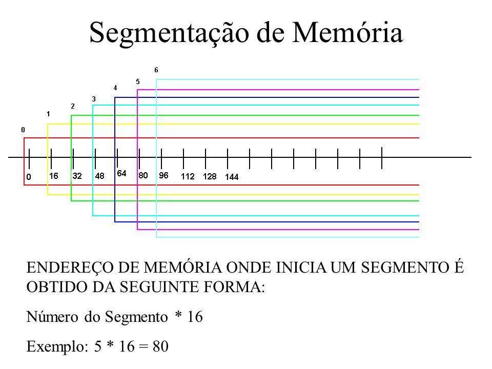 Segmentação de Memória ENDEREÇO DE MEMÓRIA ONDE INICIA UM SEGMENTO É OBTIDO DA SEGUINTE FORMA: Número do Segmento * 16 Exemplo: 5 * 16 = 80