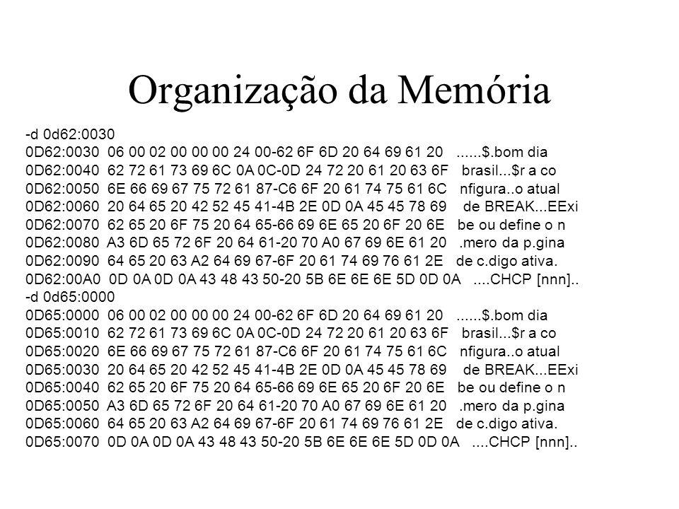 Organização da Memória -d 0d62:0030 0D62:0030 06 00 02 00 00 00 24 00-62 6F 6D 20 64 69 61 20......$.bom dia 0D62:0040 62 72 61 73 69 6C 0A 0C-0D 24 7