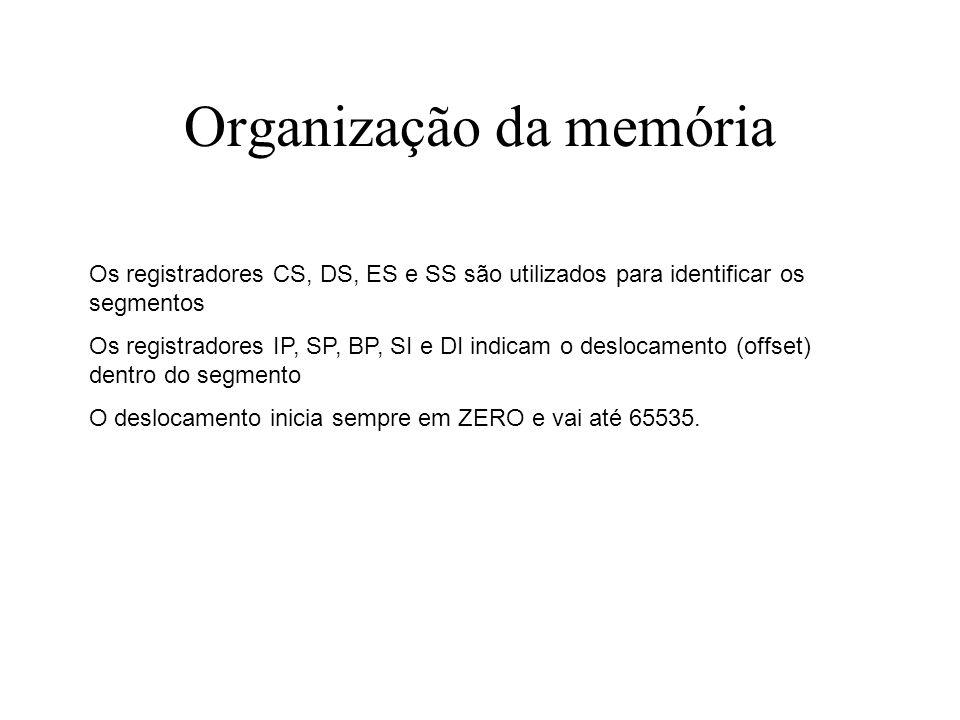 Organização da memória Os registradores CS, DS, ES e SS são utilizados para identificar os segmentos Os registradores IP, SP, BP, SI e DI indicam o de