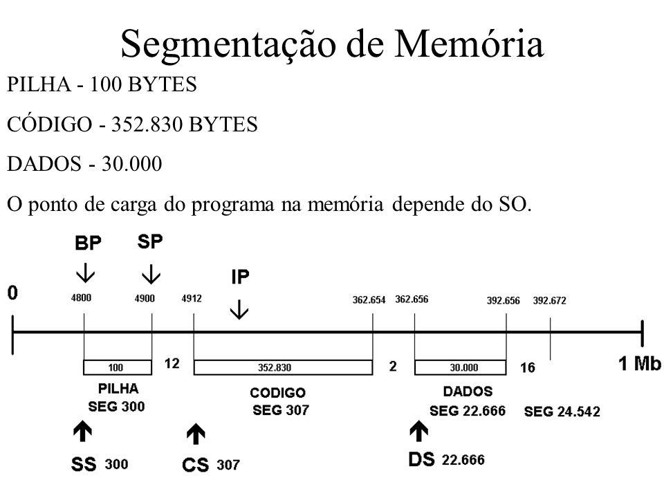 PILHA - 100 BYTES CÓDIGO - 352.830 BYTES DADOS - 30.000 O ponto de carga do programa na memória depende do SO.