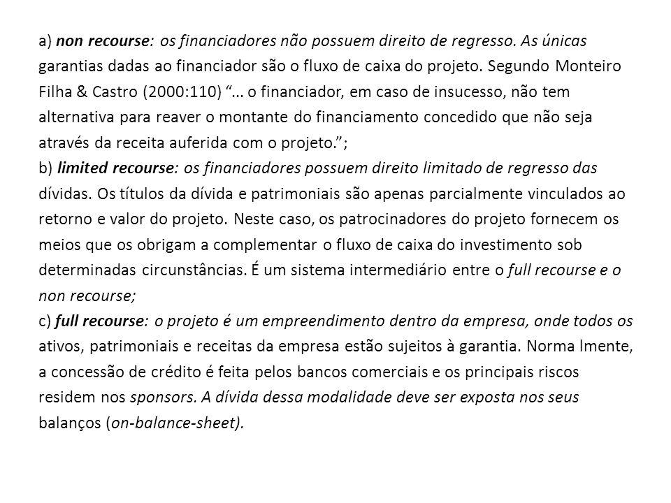 a) non recourse: os financiadores não possuem direito de regresso. As únicas garantias dadas ao financiador são o fluxo de caixa do projeto. Segundo M