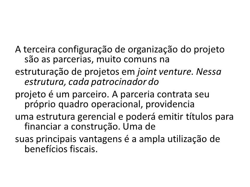A terceira configuração de organização do projeto são as parcerias, muito comuns na estruturação de projetos em joint venture. Nessa estrutura, cada p