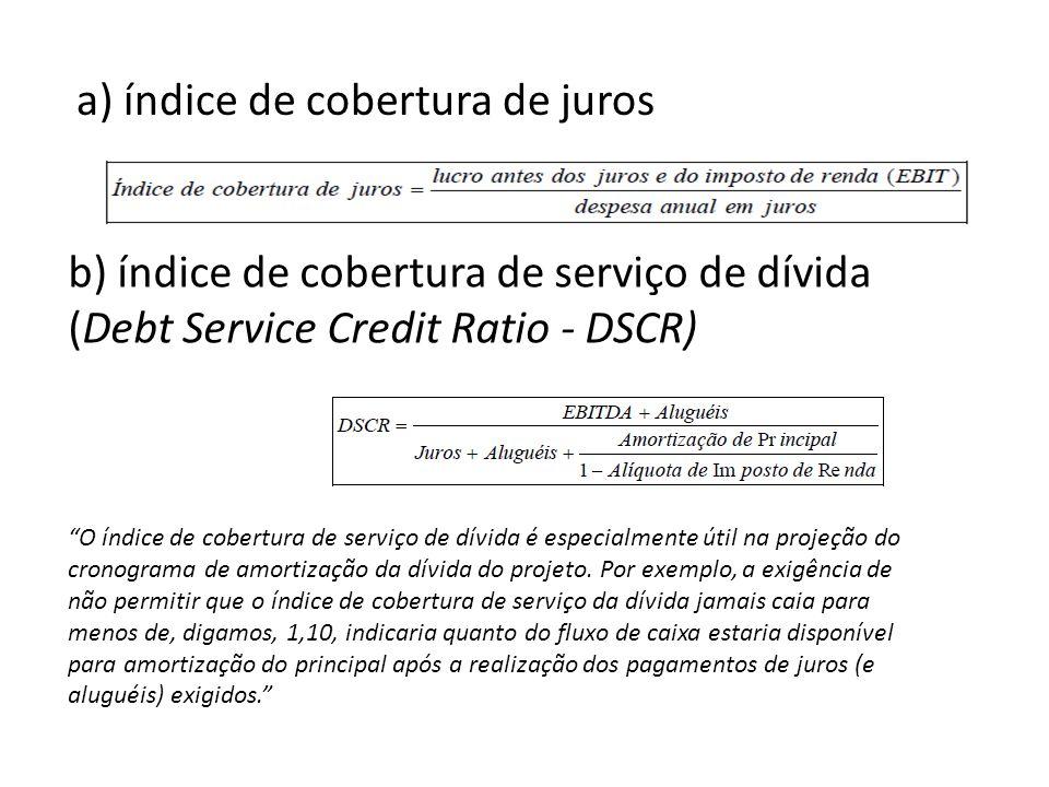 b) índice de cobertura de serviço de dívida (Debt Service Credit Ratio - DSCR) O índice de cobertura de serviço de dívida é especialmente útil na projeção do cronograma de amortização da dívida do projeto.