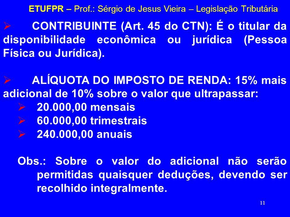 11 ETUFPR – Prof.: Sérgio de Jesus Vieira – Legislação Tributária CONTRIBUINTE (Art. 45 do CTN): É o titular da disponibilidade econômica ou jurídica