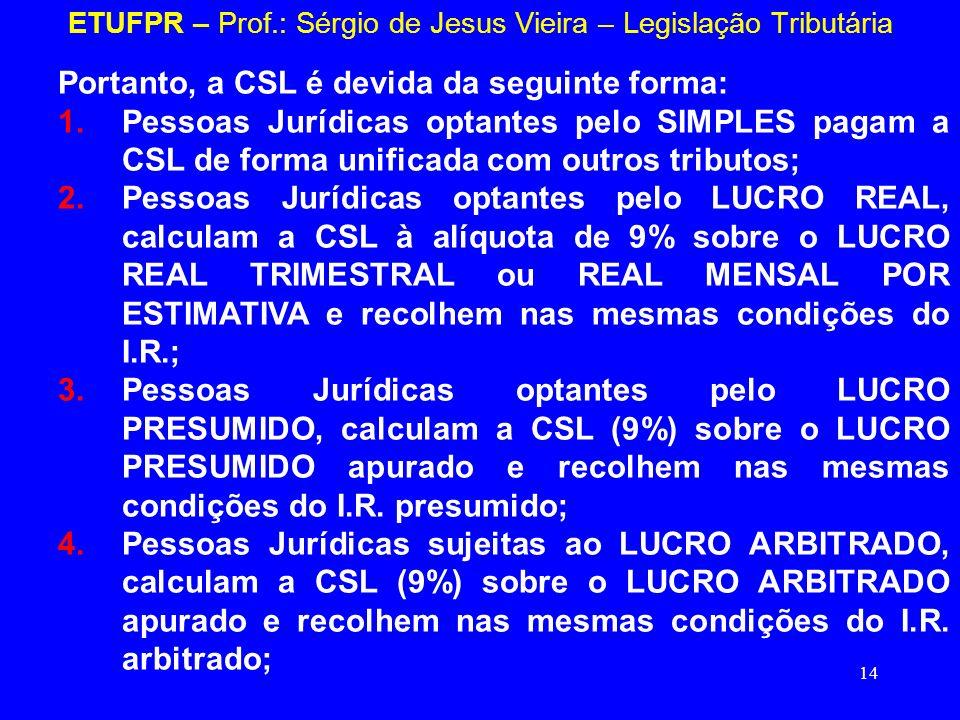 14 ETUFPR – Prof.: Sérgio de Jesus Vieira – Legislação Tributária Portanto, a CSL é devida da seguinte forma: 1.Pessoas Jurídicas optantes pelo SIMPLE