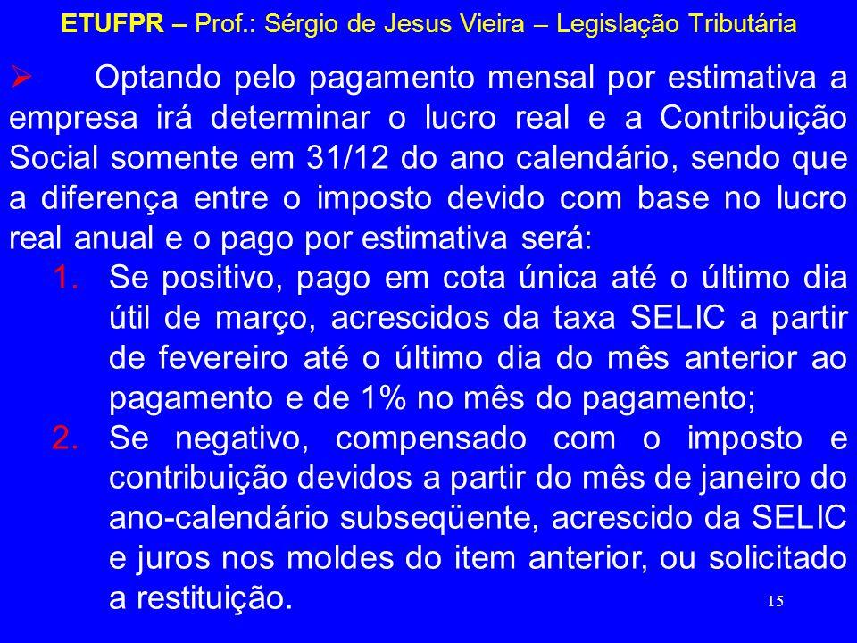 15 ETUFPR – Prof.: Sérgio de Jesus Vieira – Legislação Tributária Optando pelo pagamento mensal por estimativa a empresa irá determinar o lucro real e
