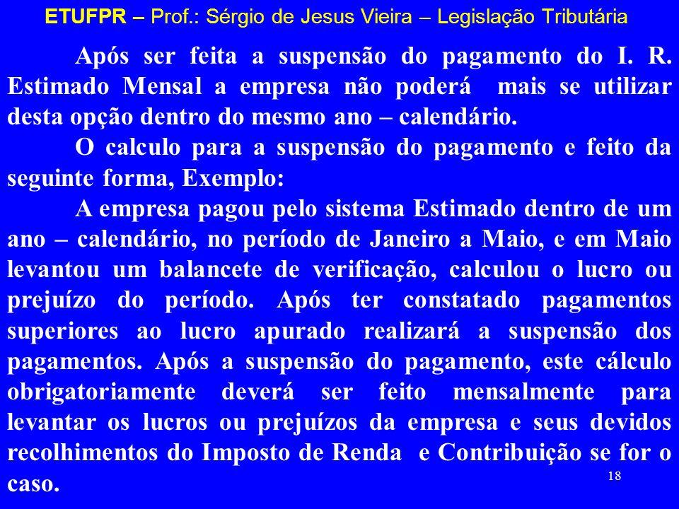 18 ETUFPR – Prof.: Sérgio de Jesus Vieira – Legislação Tributária Após ser feita a suspensão do pagamento do I. R. Estimado Mensal a empresa não poder