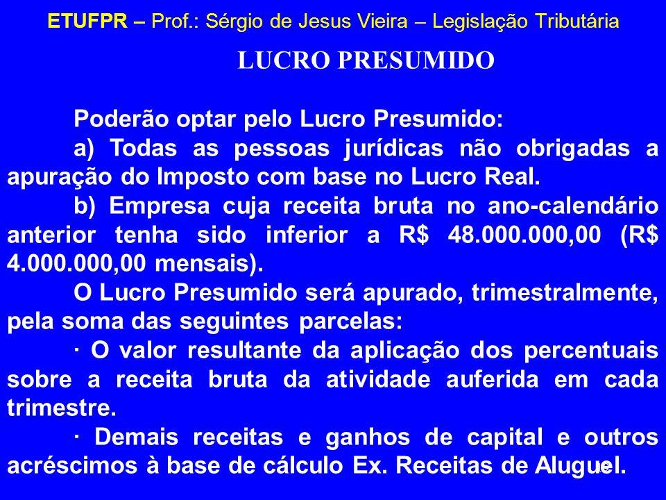 19 ETUFPR – Prof.: Sérgio de Jesus Vieira – Legislação Tributária LUCRO PRESUMIDO Poderão optar pelo Lucro Presumido: a) Todas as pessoas jurídicas nã