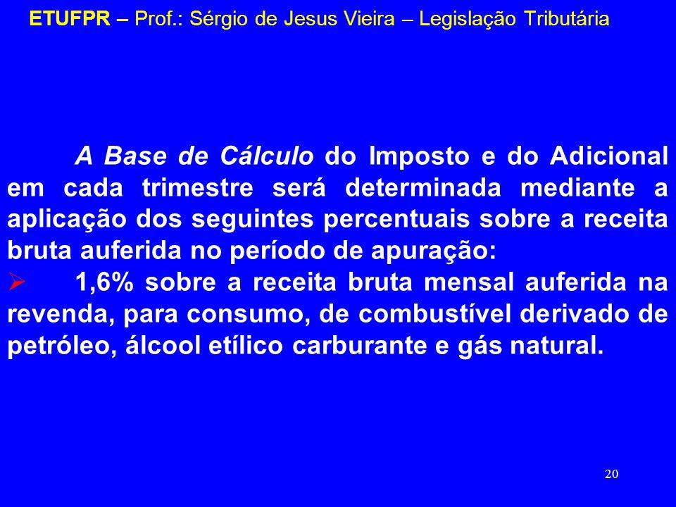 20 ETUFPR – Prof.: Sérgio de Jesus Vieira – Legislação Tributária A Base de Cálculo do Imposto e do Adicional em cada trimestre será determinada media