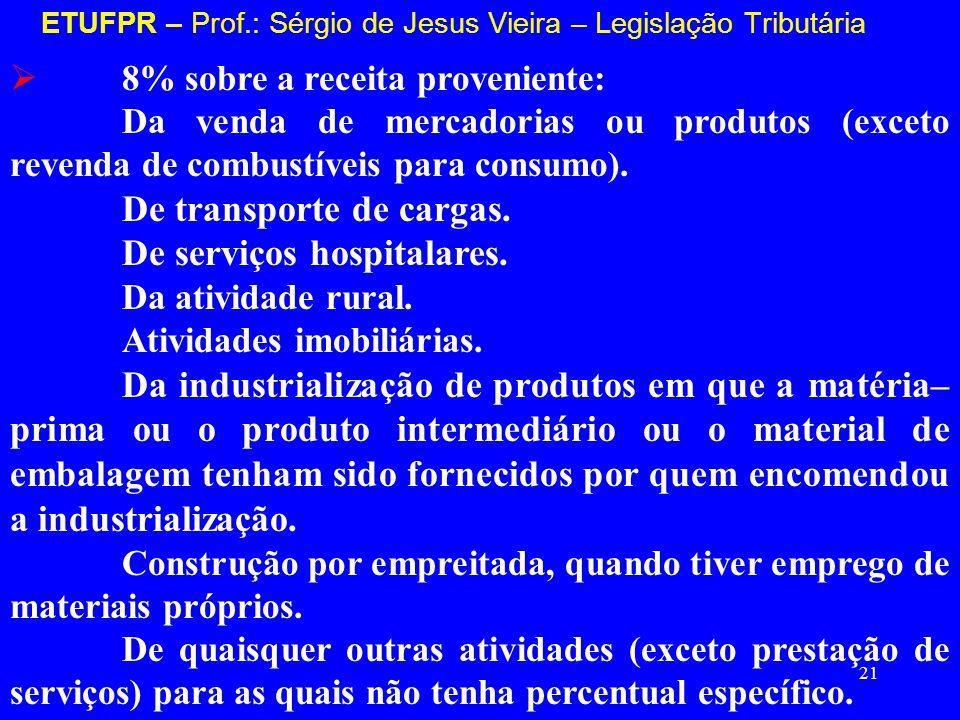 21 ETUFPR – Prof.: Sérgio de Jesus Vieira – Legislação Tributária 8% sobre a receita proveniente: Da venda de mercadorias ou produtos (exceto revenda