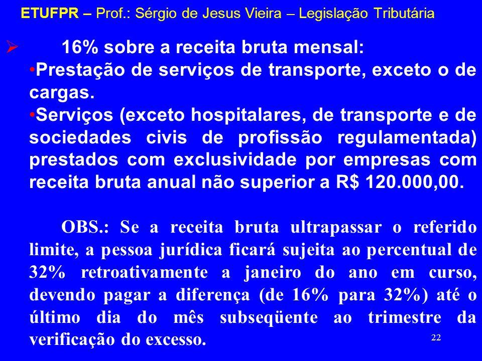 22 ETUFPR – Prof.: Sérgio de Jesus Vieira – Legislação Tributária 16% sobre a receita bruta mensal: Prestação de serviços de transporte, exceto o de c