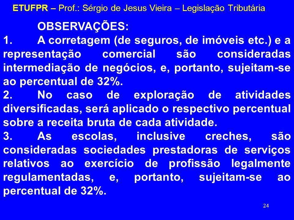 24 ETUFPR – Prof.: Sérgio de Jesus Vieira – Legislação Tributária OBSERVAÇÕES: 1.A corretagem (de seguros, de imóveis etc.) e a representação comercia