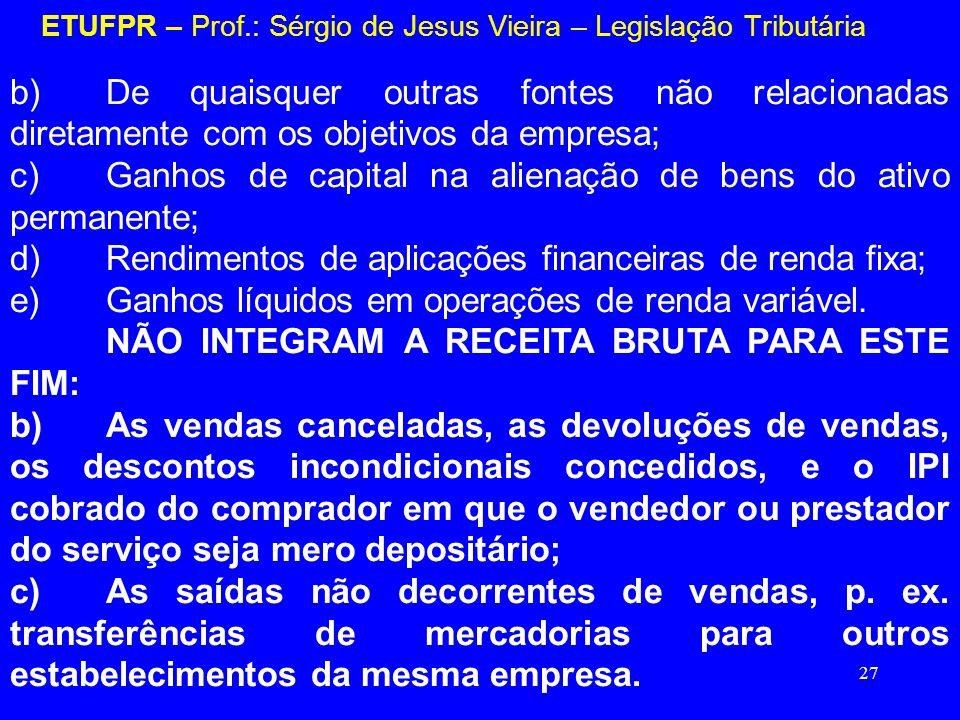 27 ETUFPR – Prof.: Sérgio de Jesus Vieira – Legislação Tributária b)De quaisquer outras fontes não relacionadas diretamente com os objetivos da empres