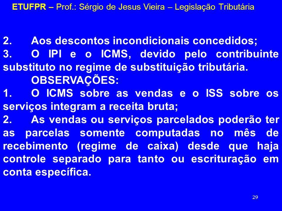 29 ETUFPR – Prof.: Sérgio de Jesus Vieira – Legislação Tributária 2.Aos descontos incondicionais concedidos; 3.O IPI e o ICMS, devido pelo contribuint