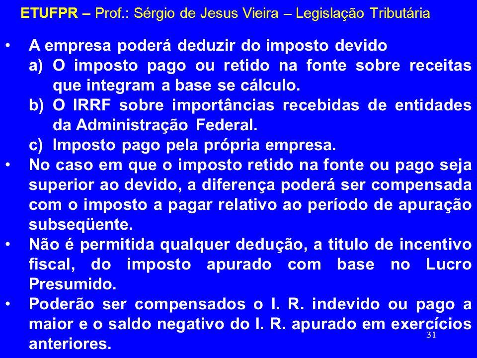 31 ETUFPR – Prof.: Sérgio de Jesus Vieira – Legislação Tributária A empresa poderá deduzir do imposto devido a)O imposto pago ou retido na fonte sobre
