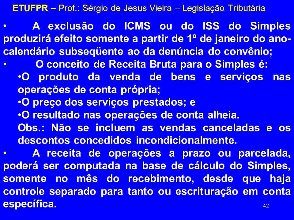 42 ETUFPR – Prof.: Sérgio de Jesus Vieira – Legislação Tributária A exclusão do ICMS ou do ISS do Simples produzirá efeito somente a partir de 1º de j