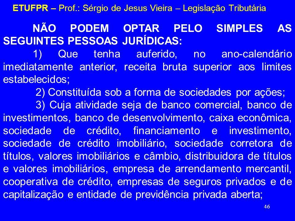 46 ETUFPR – Prof.: Sérgio de Jesus Vieira – Legislação Tributária NÃO PODEM OPTAR PELO SIMPLES AS SEGUINTES PESSOAS JURÍDICAS: 1) Que tenha auferido,