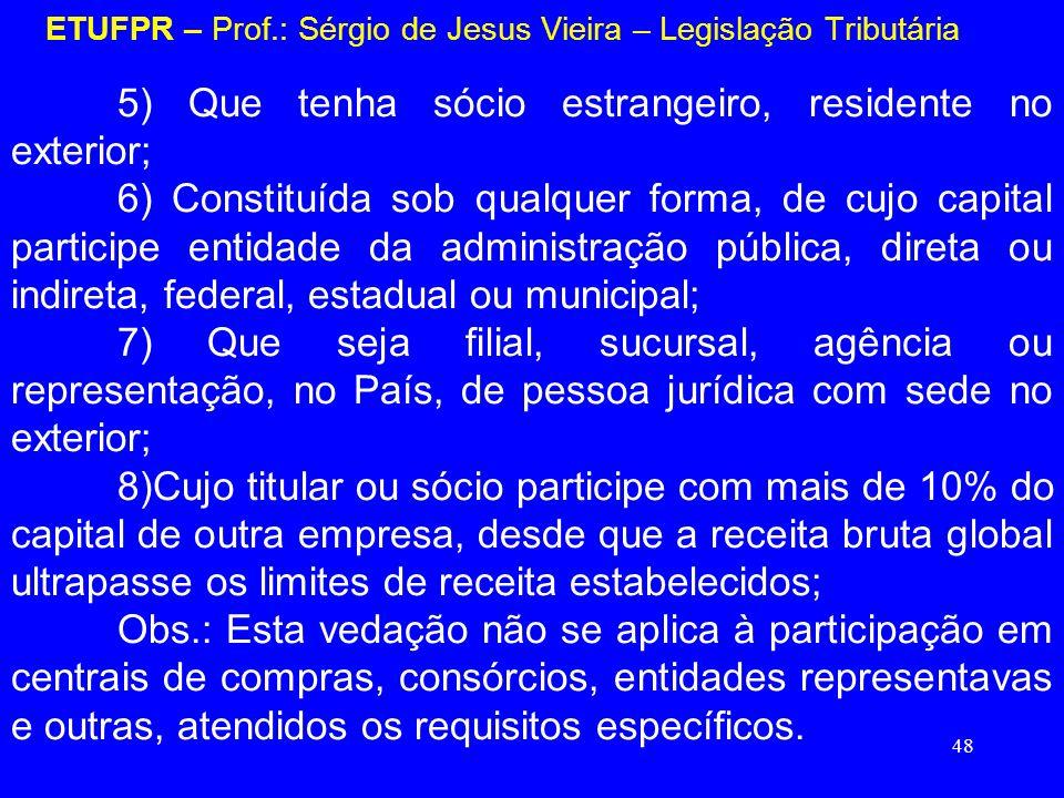 48 ETUFPR – Prof.: Sérgio de Jesus Vieira – Legislação Tributária 5) Que tenha sócio estrangeiro, residente no exterior; 6) Constituída sob qualquer f