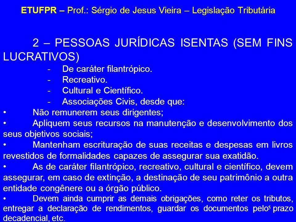 5 ETUFPR – Prof.: Sérgio de Jesus Vieira – Legislação Tributária 2 – PESSOAS JURÍDICAS ISENTAS (SEM FINS LUCRATIVOS) -De caráter filantrópico. -Recrea