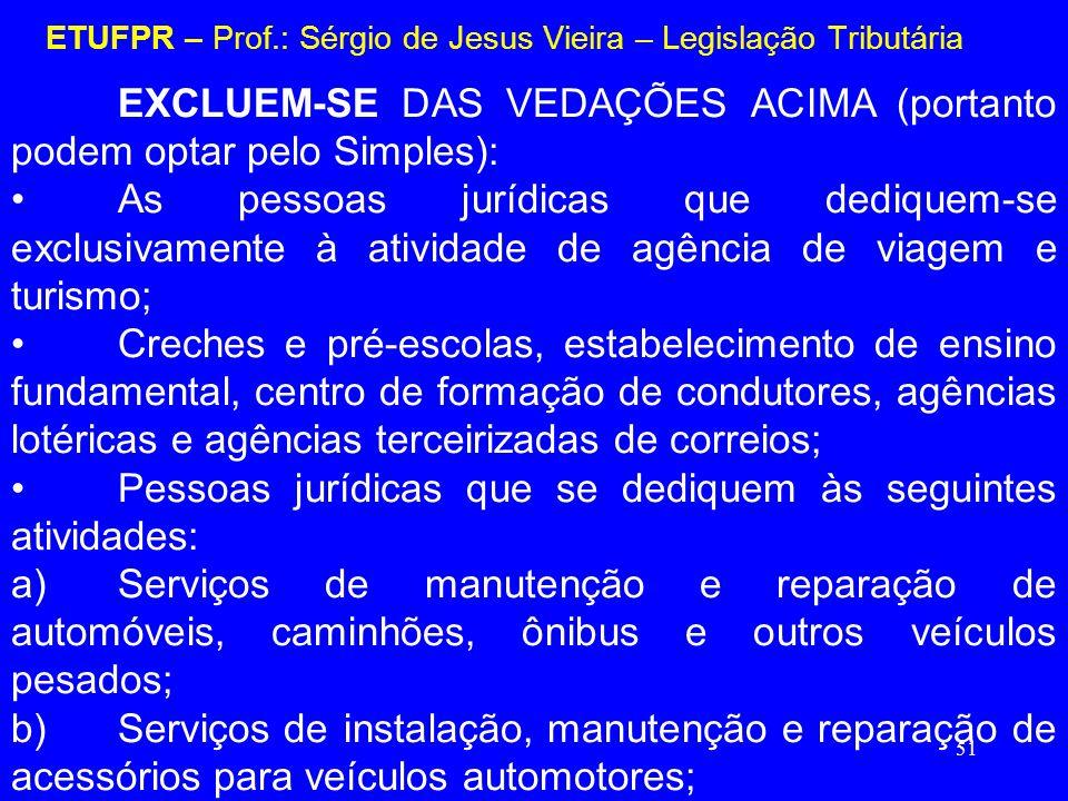 51 ETUFPR – Prof.: Sérgio de Jesus Vieira – Legislação Tributária EXCLUEM-SE DAS VEDAÇÕES ACIMA (portanto podem optar pelo Simples): As pessoas jurídi