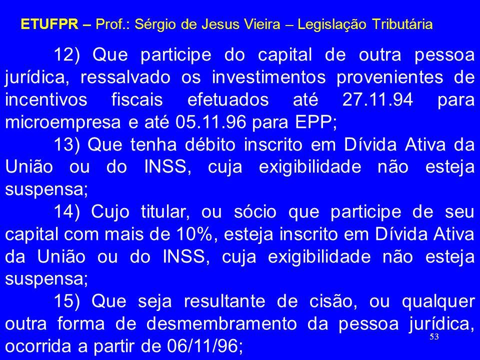 53 ETUFPR – Prof.: Sérgio de Jesus Vieira – Legislação Tributária 12) Que participe do capital de outra pessoa jurídica, ressalvado os investimentos p