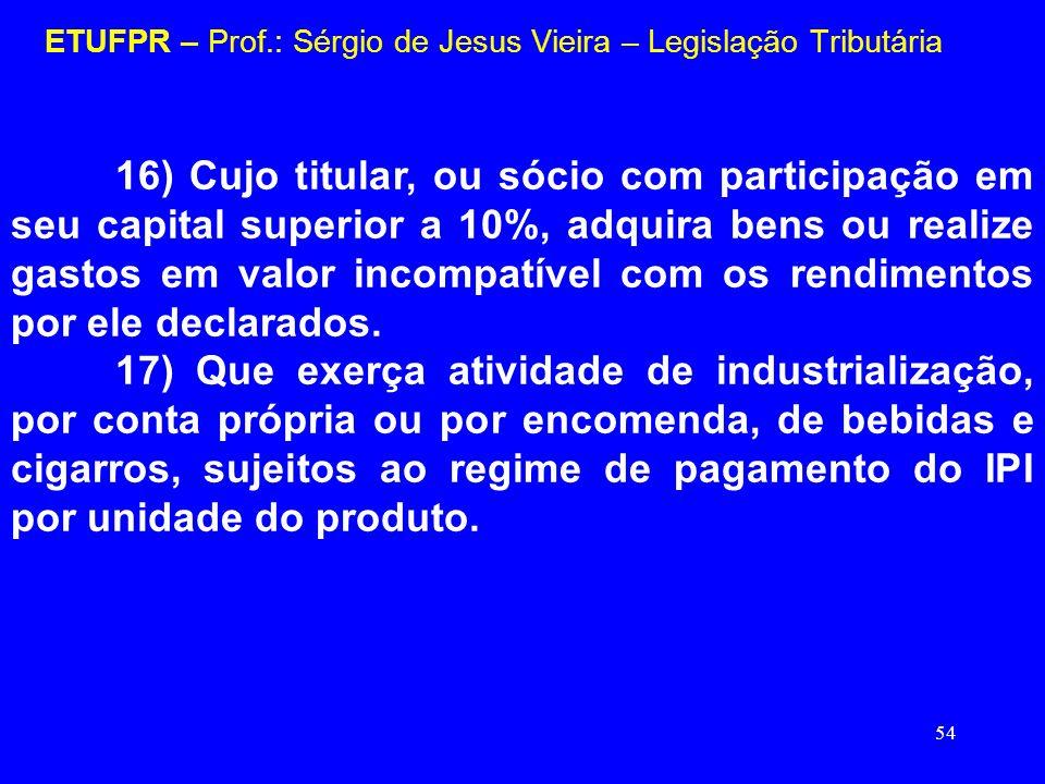 54 ETUFPR – Prof.: Sérgio de Jesus Vieira – Legislação Tributária 16) Cujo titular, ou sócio com participação em seu capital superior a 10%, adquira b