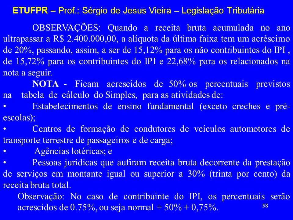 58 ETUFPR – Prof.: Sérgio de Jesus Vieira – Legislação Tributária OBSERVAÇÕES: Quando a receita bruta acumulada no ano ultrapassar a R$ 2.400.000,00,