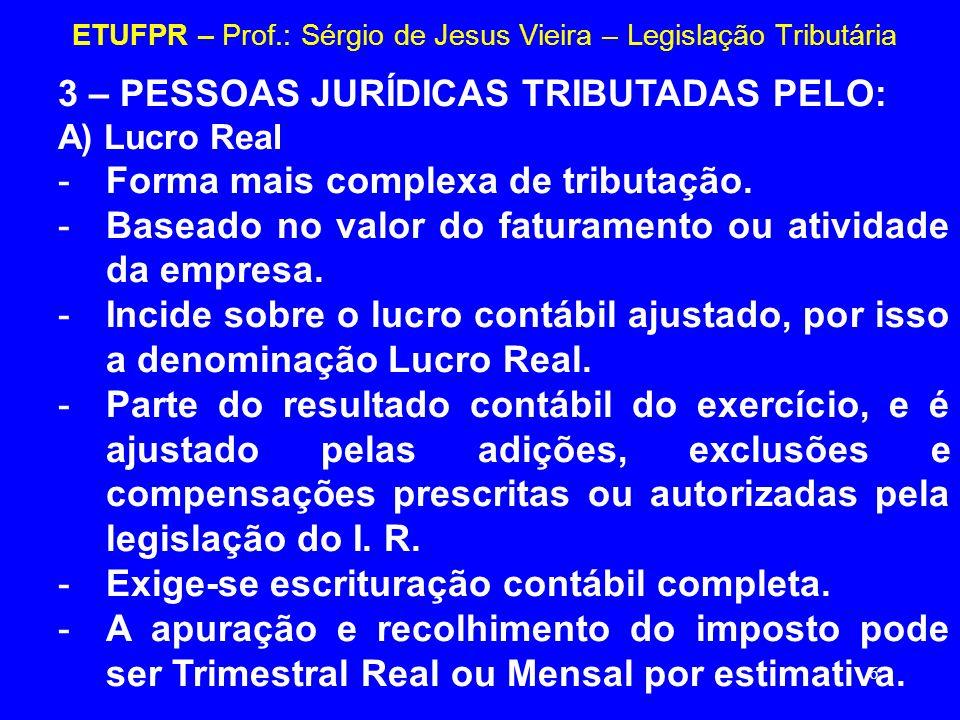 6 ETUFPR – Prof.: Sérgio de Jesus Vieira – Legislação Tributária 3 – PESSOAS JURÍDICAS TRIBUTADAS PELO: A) Lucro Real -Forma mais complexa de tributaç