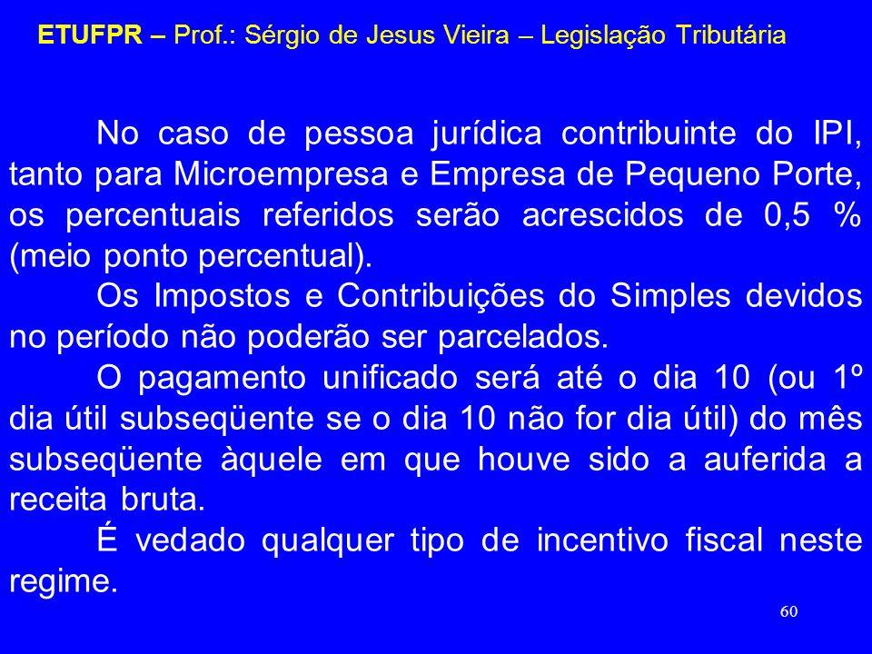 60 ETUFPR – Prof.: Sérgio de Jesus Vieira – Legislação Tributária No caso de pessoa jurídica contribuinte do IPI, tanto para Microempresa e Empresa de