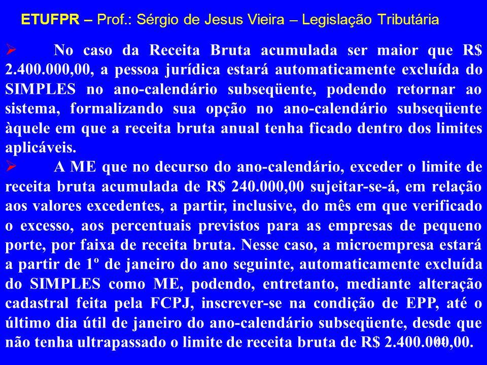 62 ETUFPR – Prof.: Sérgio de Jesus Vieira – Legislação Tributária No caso da Receita Bruta acumulada ser maior que R$ 2.400.000,00, a pessoa jurídica